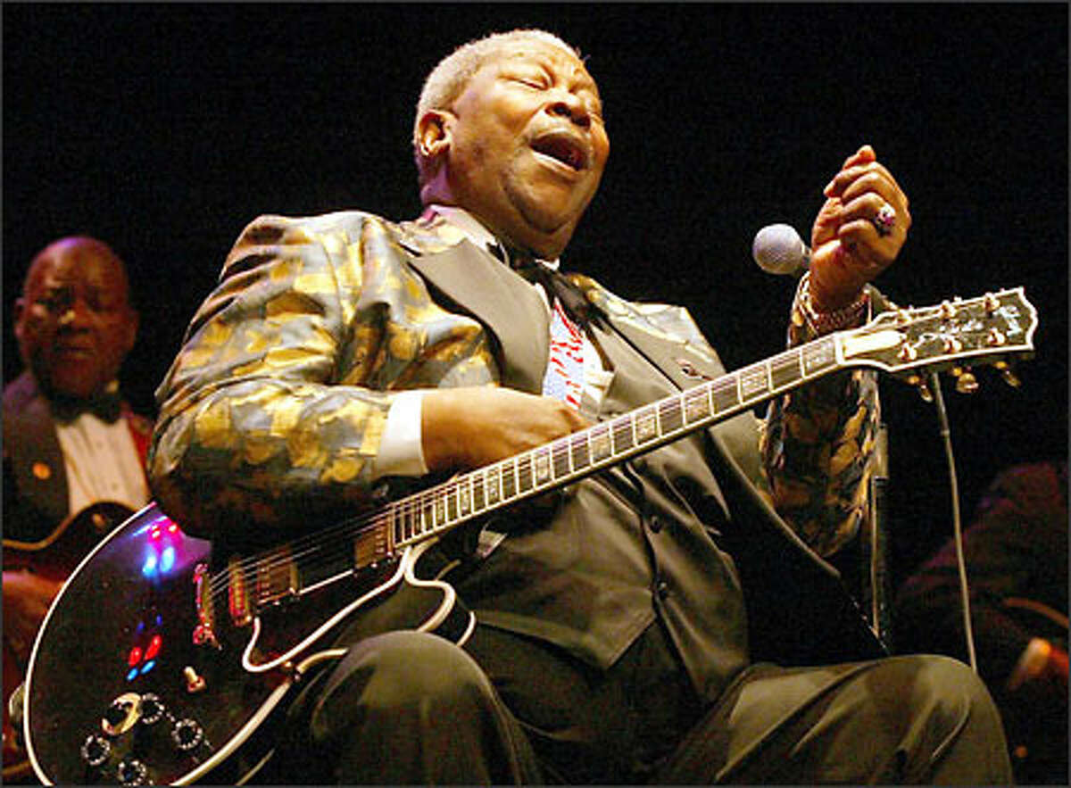 B.B. King, the Mississippi-bred blues legend, and his famous guitar Lucille at McCaw Hall at Seattle Center.