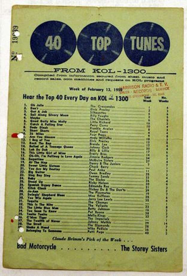 A KOL record chart from February 1958. The station distributed the charts at Seattle-area record shops. This one was handed out at the now-defunct Harrison Radio and TV in Greenwood. Photo: Casey McNerthney, Seattlepi.com