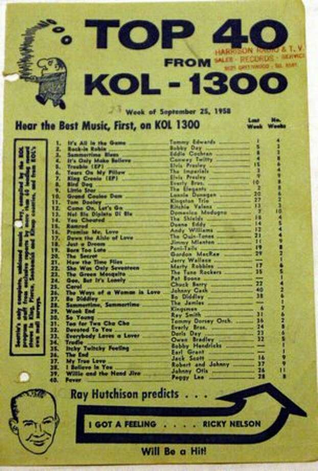 A KOL record chart from September 1958. The station distributed the charts at Seattle-area record shops. This one was handed out at the now-defunct Harrison Radio and TV in Greenwood. Photo: Casey McNerthney, Seattlepi.com