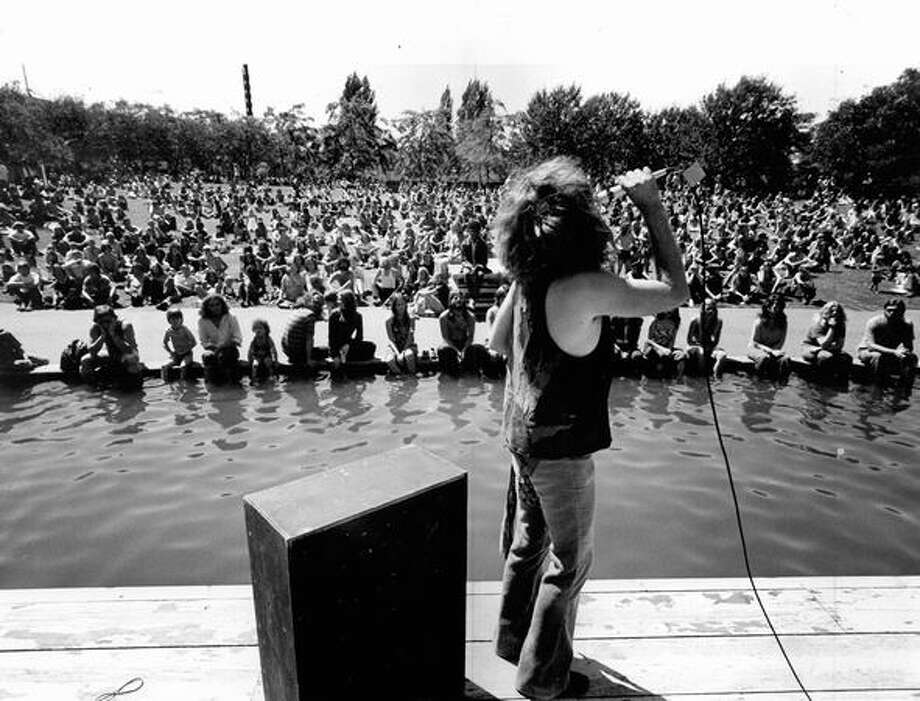 The original photo caption indicates this is a photo from Bumbershoot, 1973. The band is not identified. Photo: P-I File