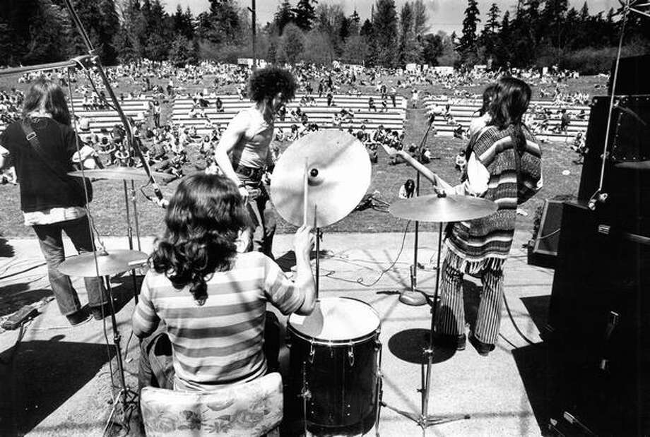 A band named Child performs at a Northwest rock festival, April 25, 1971. (Paul Thomas/Seattlepi.com file) Photo: P-I File