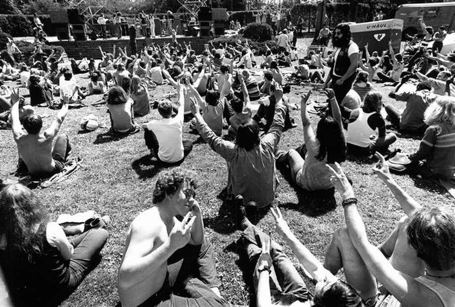 The crowd at a Washington rock festival, April 25, 1971. (Paul Thomas/Seattlepi.com file) Photo: P-I File