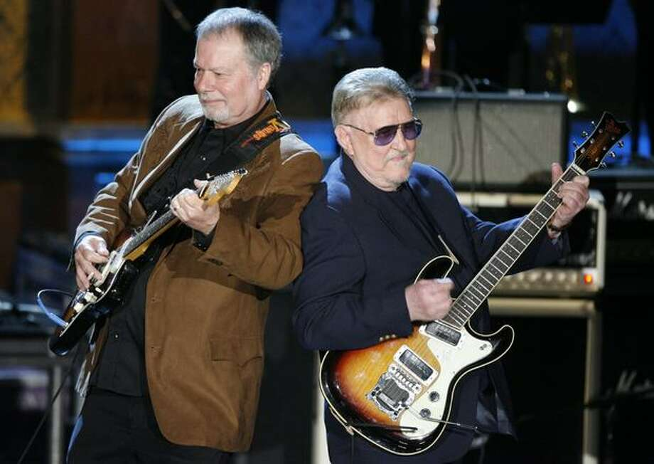 Bob Spalding, left, and Don Wilson of The Ventures perform at the Rock and Roll Hall of Fame Induction Ceremony in March 2008. Photo: P-I File