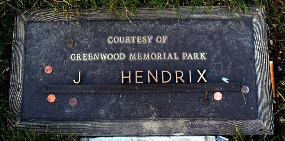 Jimi Hendrix's grave marker at Greenwood Memorial Park in Renton in February 2003. (Grant M. Haller/seattlepi.com file) Photo: P-I File