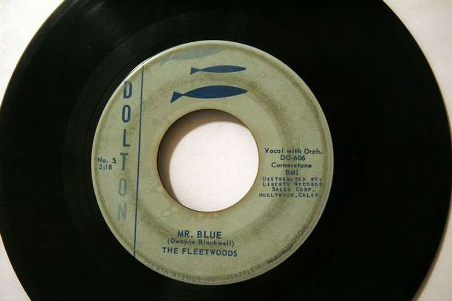 "A worn Dolton Records copy of The Fleetwoods' 1959 hit ""Mr Blue."" Photo: Casey McNerthney, Seattlepi.com"