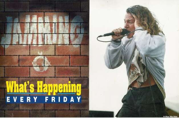 A 1992 Seattle P-I newspaper box ad with a photo of Pearl Jam's Eddie Vedder from the Drop In The Park show at Magnusson Park, Sept. 20, 1992. Photo: P-I File