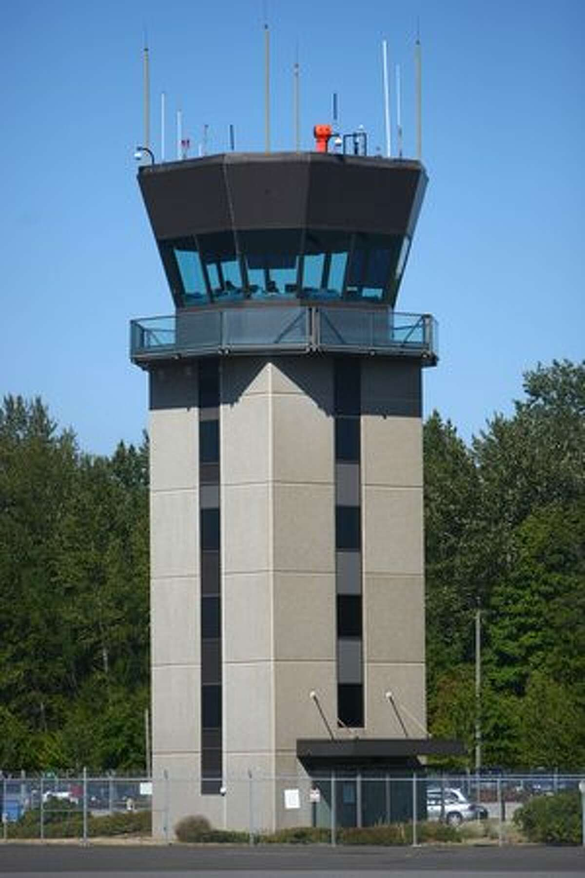 The air traffic control tower at Bellingham International Airport.