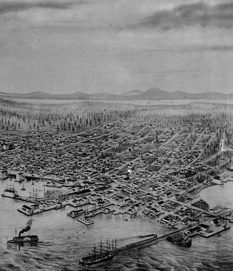 This photo caption indicates it's an 1878 view of Seattle. Photo: P-I File