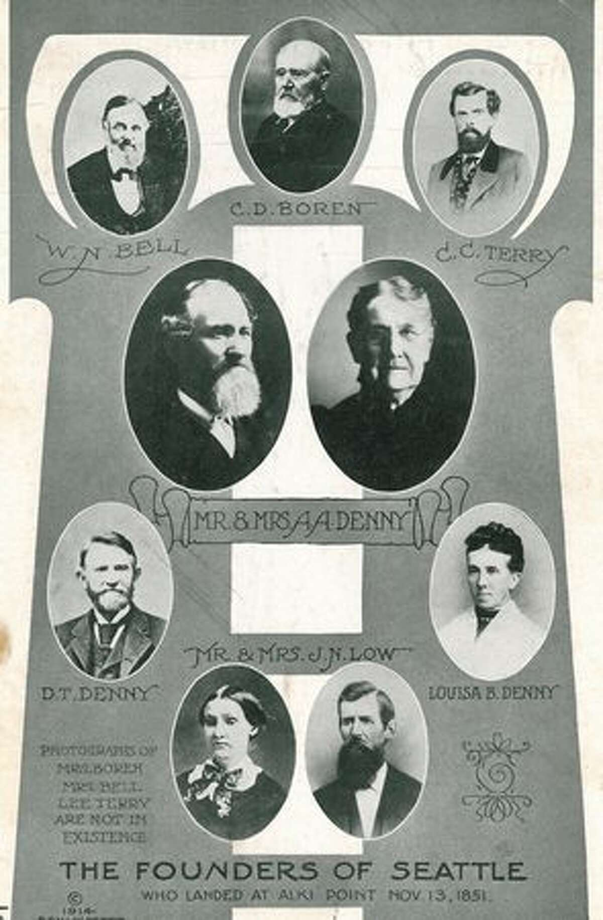 P-I file photos of early Seattle founders.