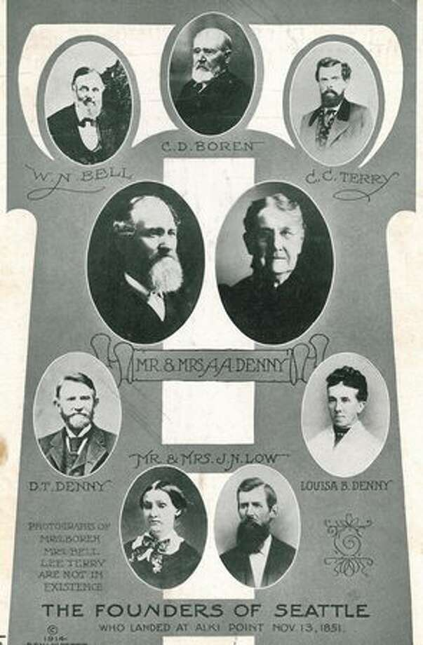 P-I file photos of early Seattle founders. Photo: P-I File