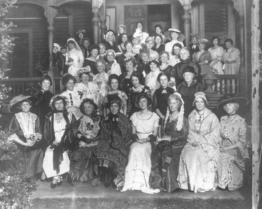 The caption for this photo reads: Seattle Founder's Day in 1922, taken on the porch of the Carkeek home. Photo: P-I File