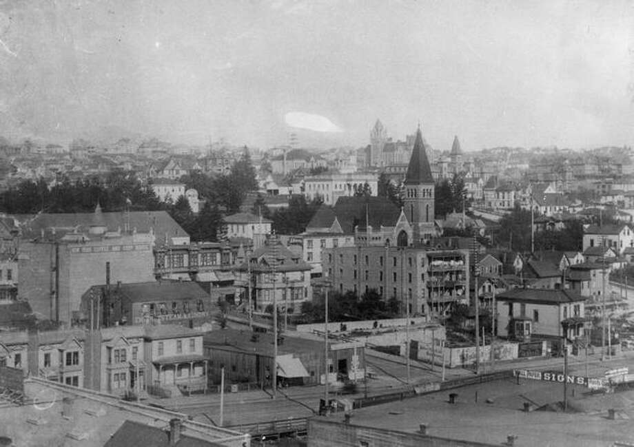 The caption for this photo reads: An old view of Seattle, before the Great Fire. Photo: P-I File
