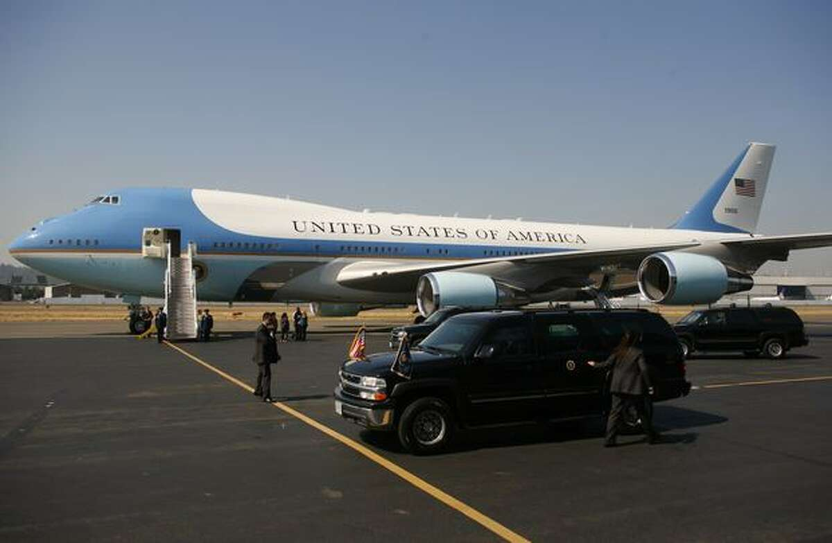 Motocade vehicles pull up as U.S. President Barack Obama arrives in Seattle for a quick fund raising trip.