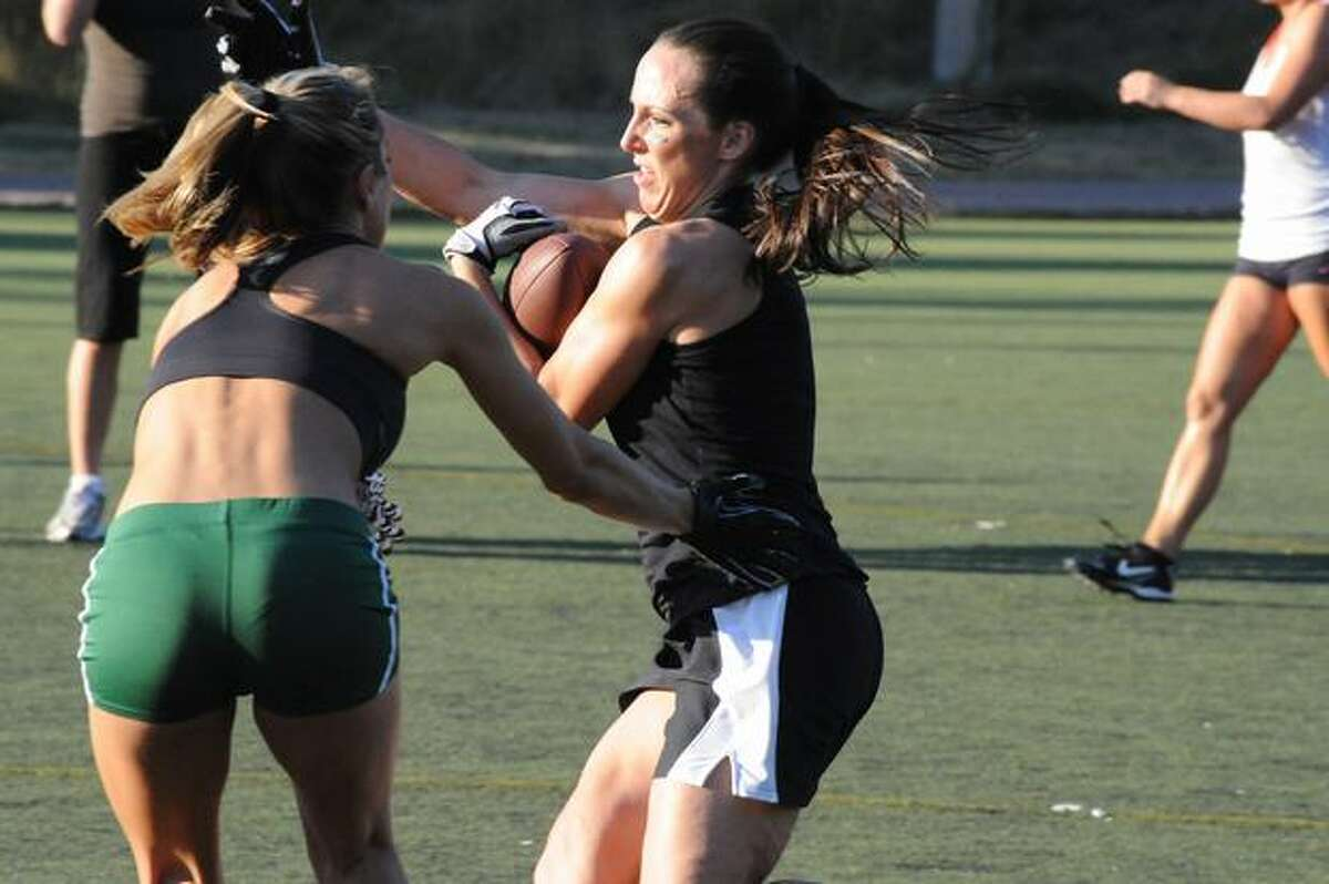 Players from the Seattle Mist lingerie football team at a recent practice.