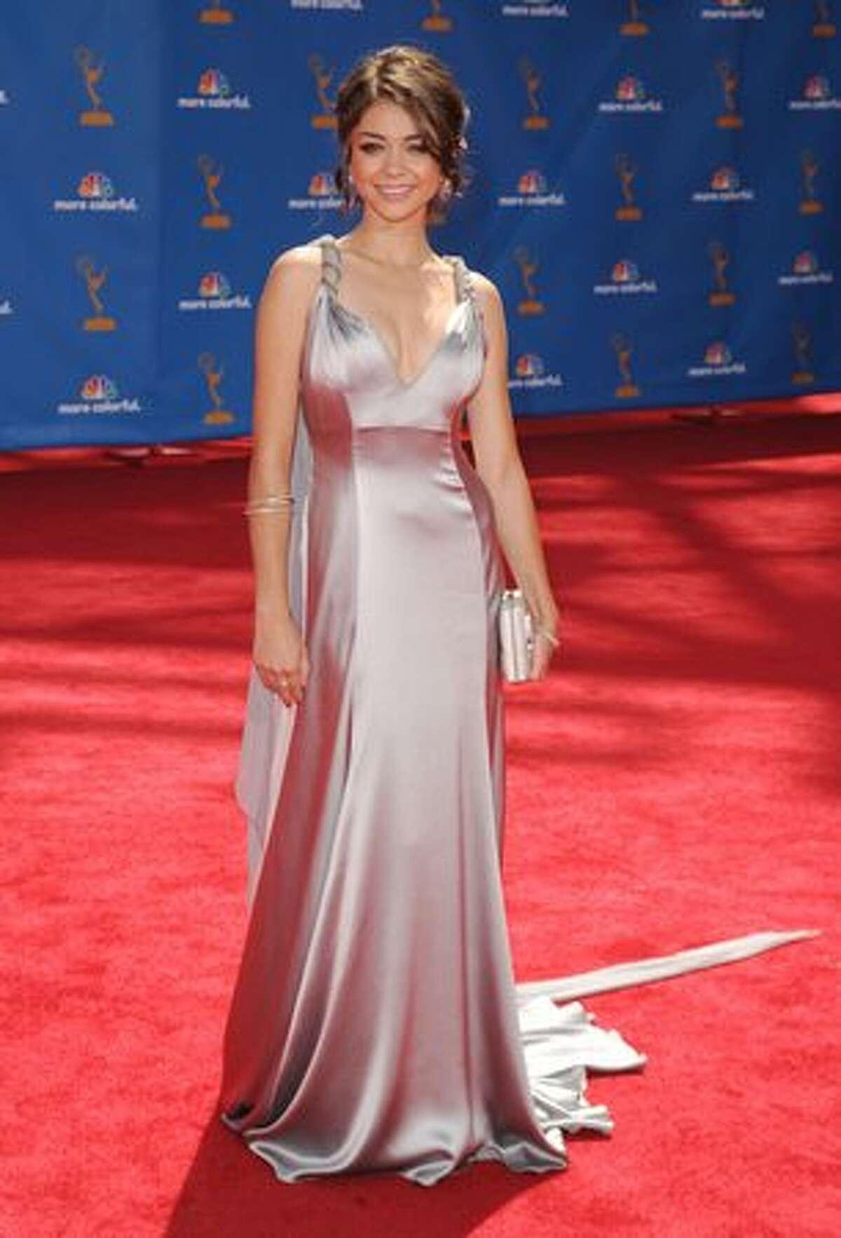 Actress Sarah Hyland arrives.