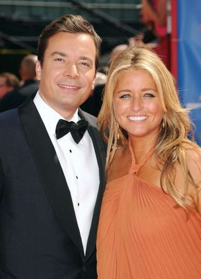 Show host Jimmy Fallon (L) and producer Nancy Juvonen arrive. Photo: Getty Images