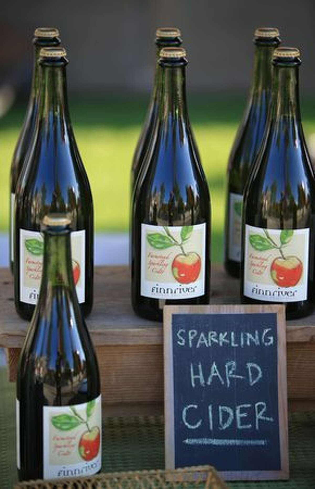 Hard cider from Finnriver organic produce is shown during the Olympic Sculpture Park Farmers Market.
