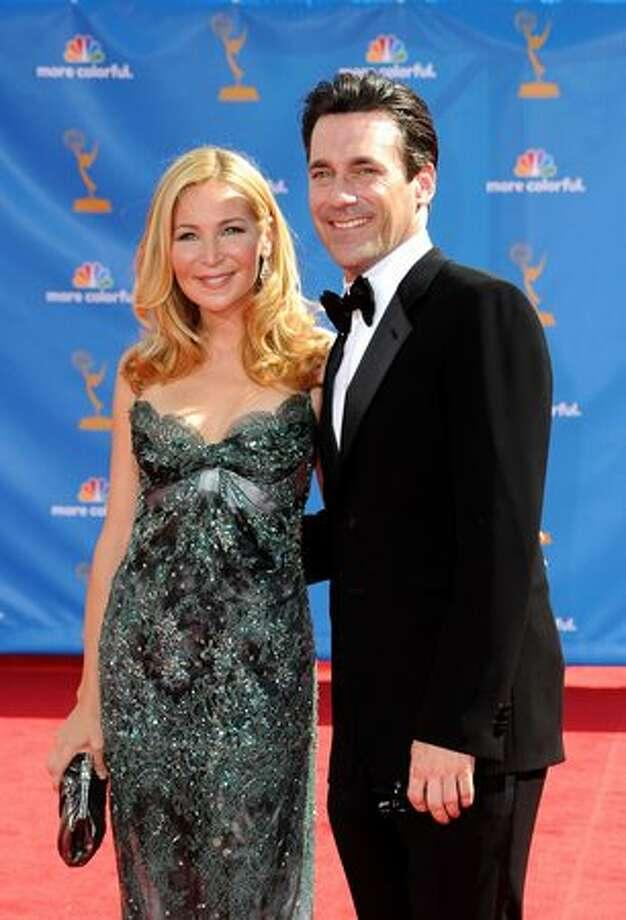 Actress Jennifer Westfeldt (L) and actor Jon Hamm arrive. Photo: Getty Images