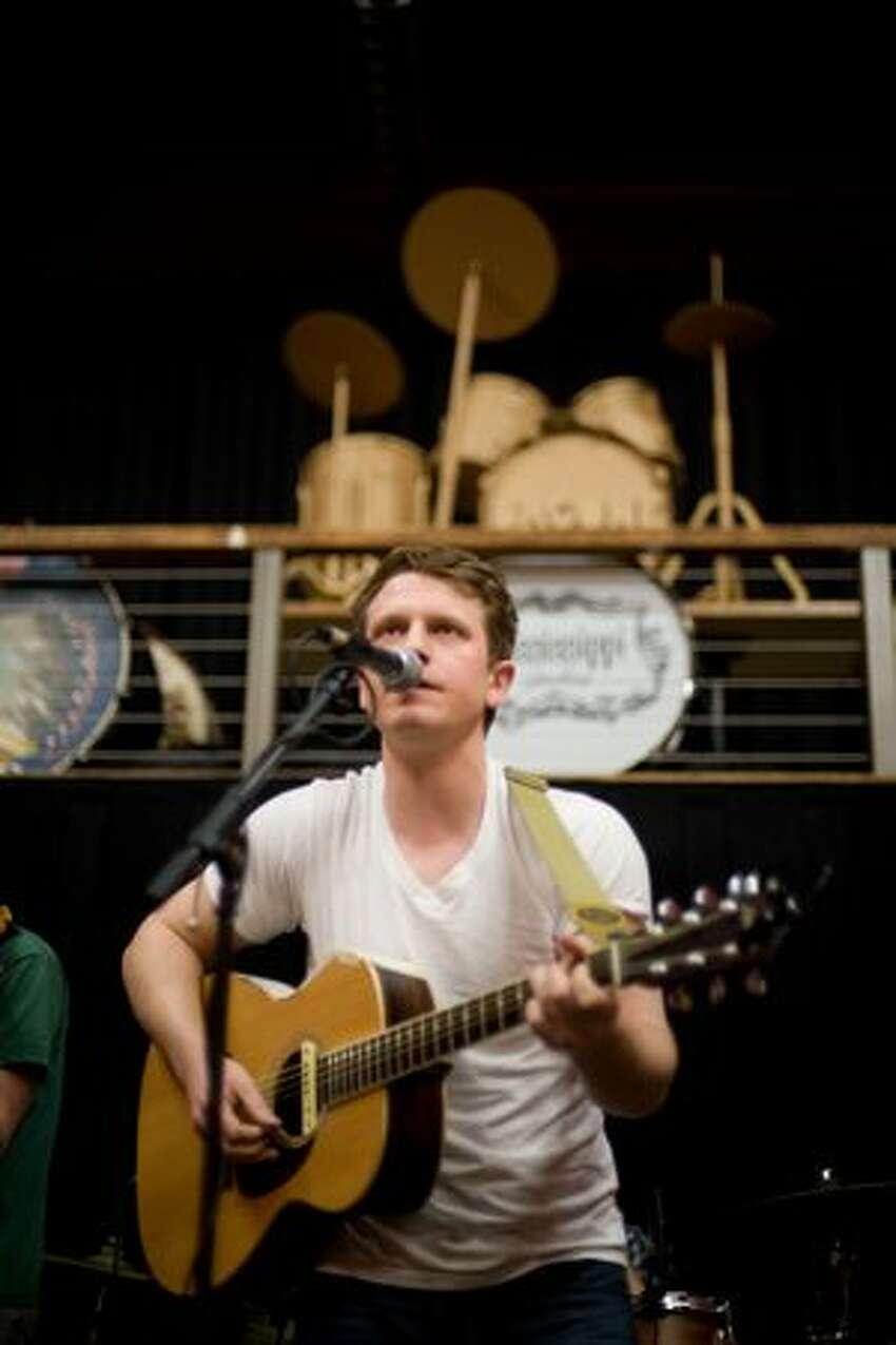 Matt Bishop of Hey Marseilles at the Mississippi Studios soundcheck in Portland. (Chona Kasinger / seattlepi.com)