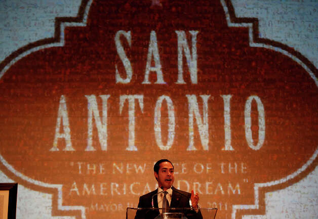 Mayor Julian Castro delivers his United State of the City Address at the Henry B. Gonzalez Convention Center on Friday. Photo: LISA KRANTZ/lkrantz@express-news.net / SAN ANTONIO EXPRESS-NEWS