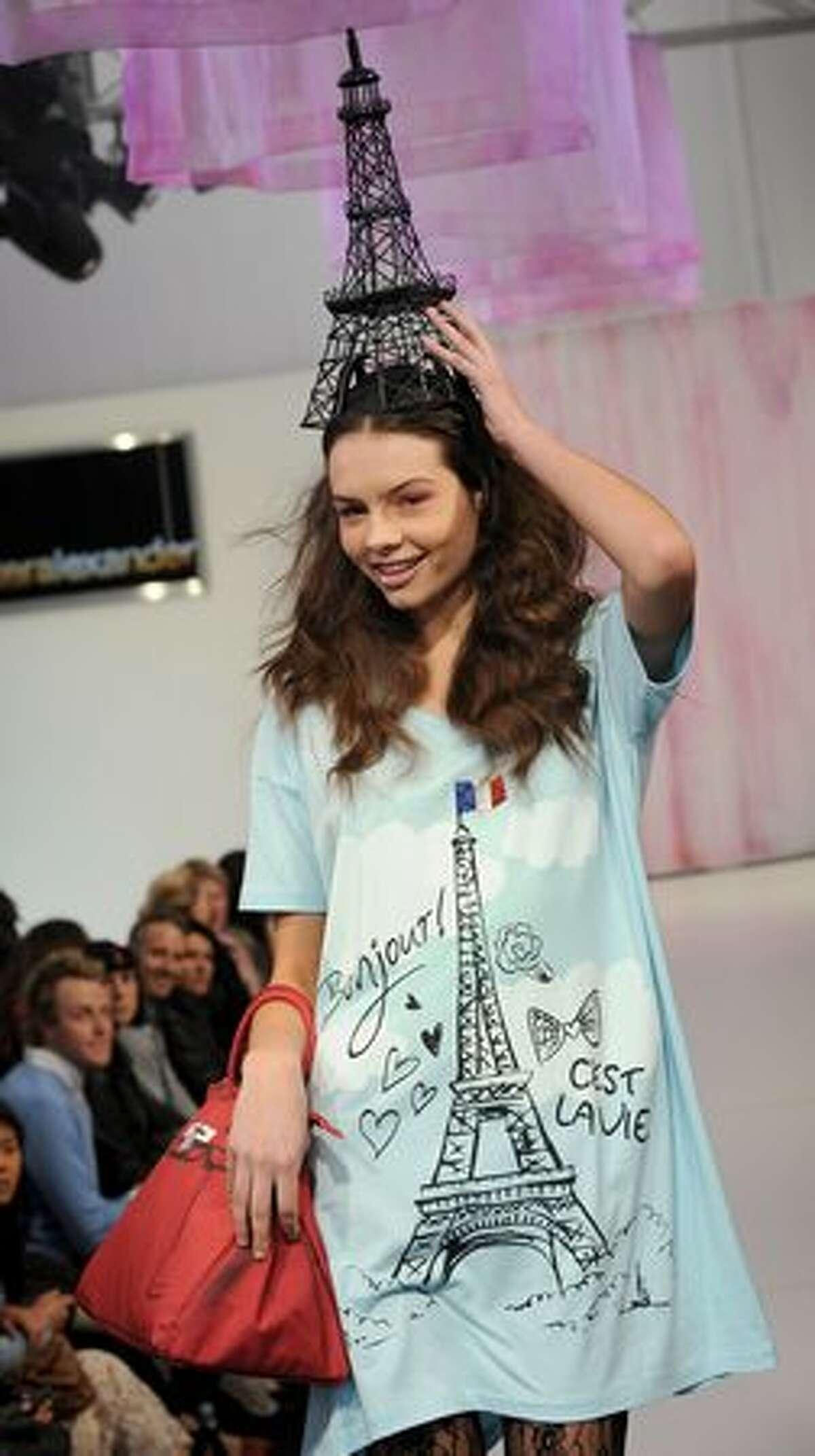 A model parades sleepwear by Australian designer Peter Alexander during Melbourne Spring Fashion Week (MSFW).
