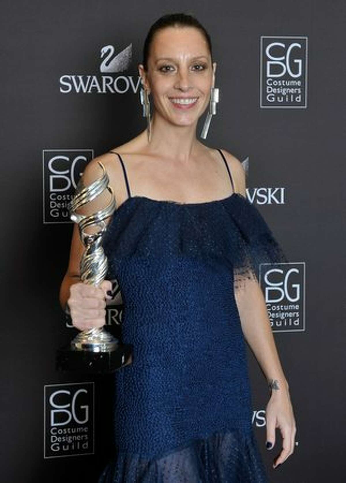 """Costume Designer Catherine Marie Thomas winner of the award for Outstanding Made for Television Movie or Miniseries for """"Grey Gardens"""" backstage during the 12th Annual Costume Designers Guild Awards with Presenting Sponsor Swarovski at The Beverly Hilton hotel in Beverly Hills, California."""