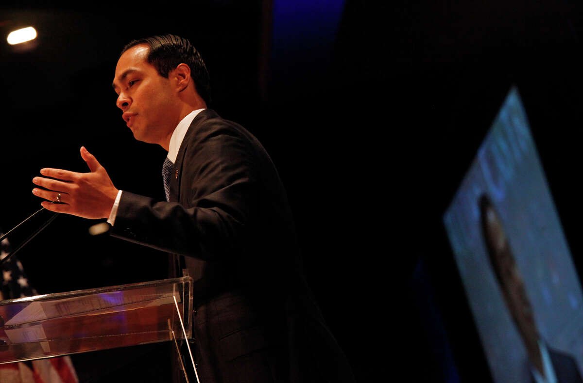 Mayor Julian Castro delivers his United State of the City Address at the Henry B. Gonzalez Convention Center on Friday.