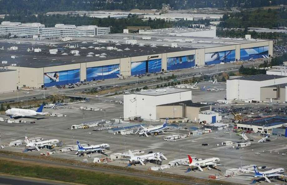 Boeing's Everett production facility is a whopping 472 million cubic feet, the world's largest building by volume.  The facility was completed in 1968. Photo: Joshua Trujillo, Seattlepi.com