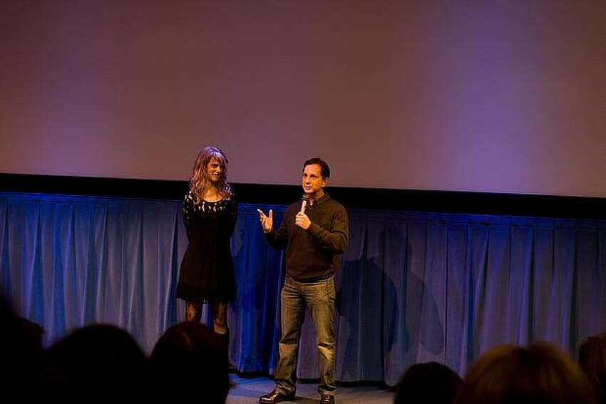 Seattle filmmaker Lynn Shelton and MTV producer David Gale speaking before the cast and crew screening of