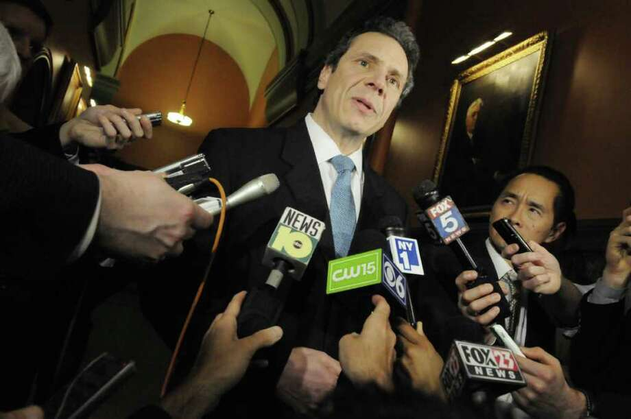 Governor Andrew Cuomo speaks to the media following meetings on the budget in his office at the Capitol in Albany Friday March 25, 2011.( Michael P. Farrell/Times Union ) Photo: Michael P. Farrell