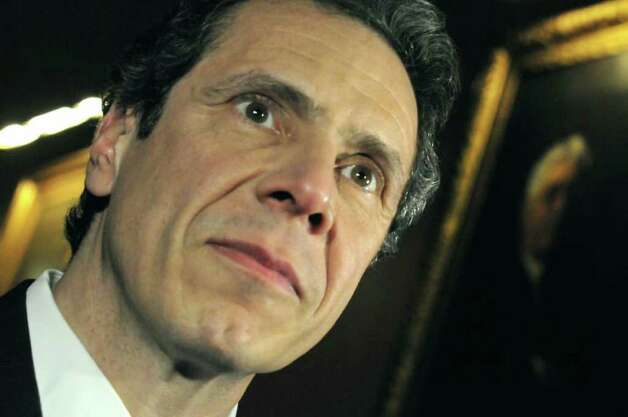 Governor Andrew Cuomo listens to questions from the media following meetings on the budget in his office at the Capitol in Albany Friday March 25, 2011.( Michael P. Farrell/Times Union ) Photo: Michael P. Farrell