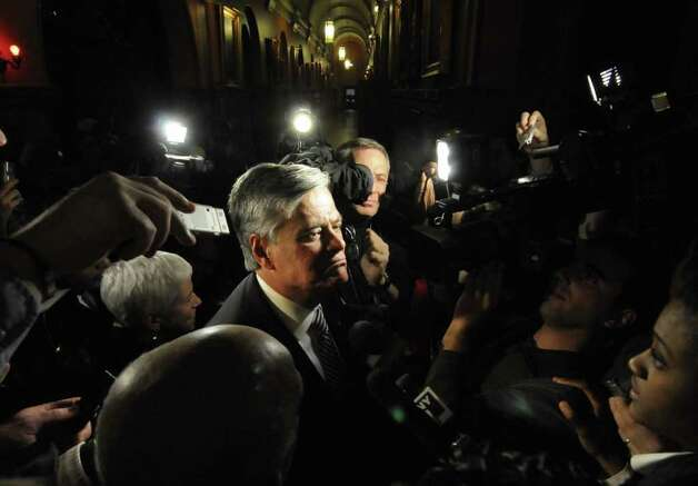 State Senate Republican leader Dean Skelos leaves the office of Governor Andrew Cuomo following a meeting on the budget at the Capitol in Albany Friday March 25, 2011.( Michael P. Farrell/Times Union ) Photo: Michael P. Farrell