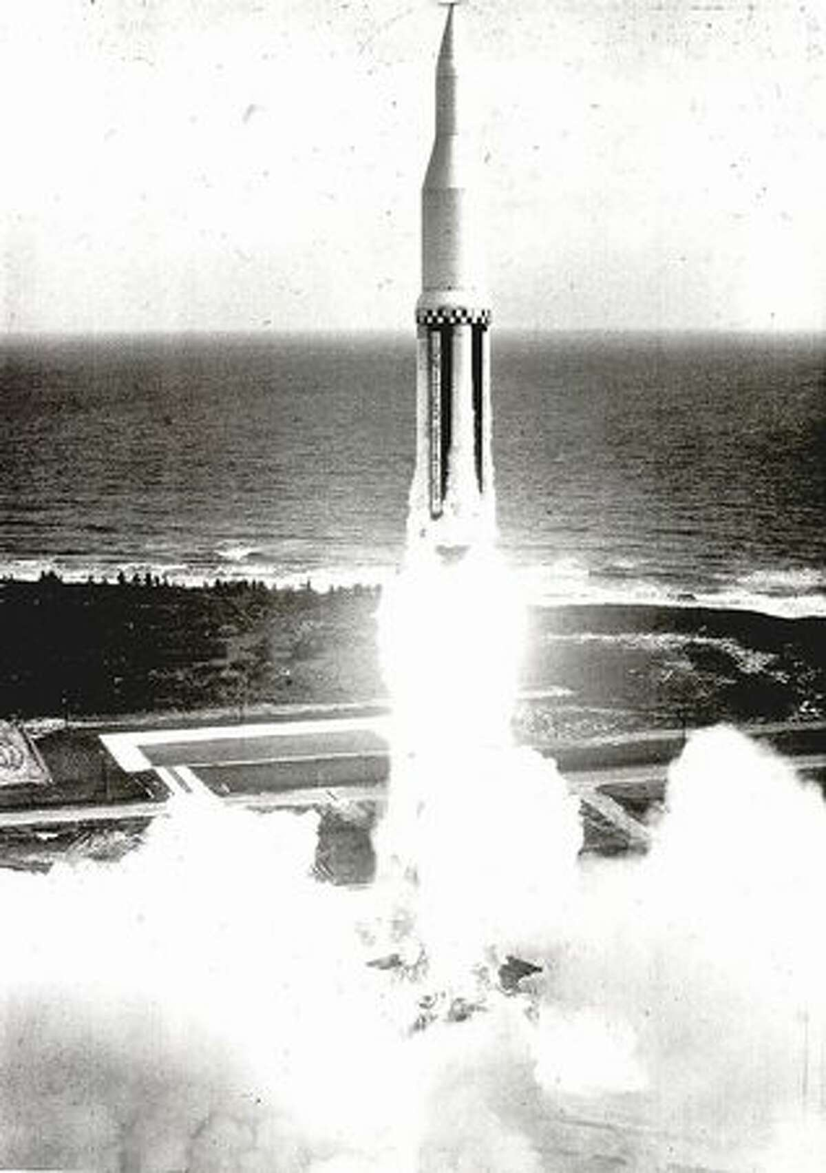 The first Saturn rocket launches on Oct. 27, 1961, from Cape Canaveral, Fla. The rocket flew a flawless 215-mile ballistic trajectory. It was 162 feet-tall, weighed 925,000 pounds and employed a dummy second stage.