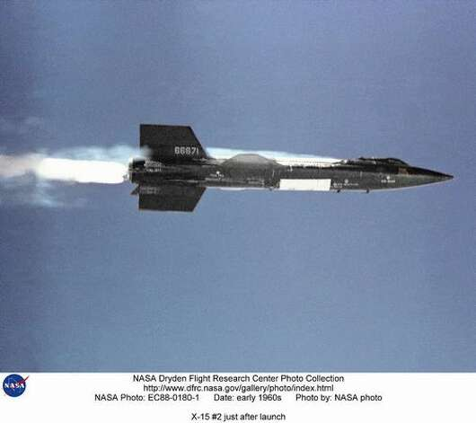 The X-15 rocket plane launches away from the B-52  mothership in the early 1960s. The white patches near the middle of the ship are frost from the liquid oxygen used in the propulsion system, although very cold  liquid nitrogen was also used to cool the payload bay, cockpit, windshields and nose. A joint program by NASA, the Air Force, the Navy and North  American Aerospace, the X-15 set a series of speed records, culimating in Mach 6.7 on Oct. 3, 1967 and reached a record altitude record of 354,200 feet on Aug. 22, 1963. It contributed to the development of the Mercury, Gemini, Apollo and Space Shuttle programs. Photo: NASA / SL