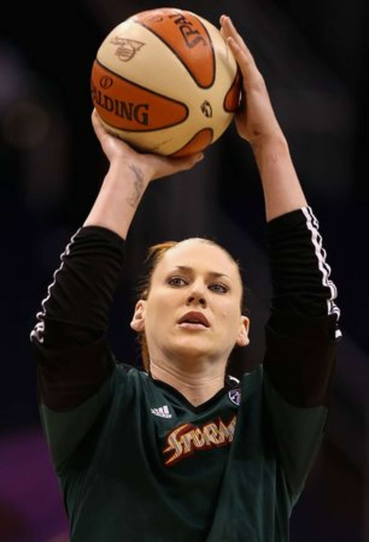 Lauren Jackson #15 of the Seattle Storm warms up prior to Game 2 of the Western Conference Finals against the Phoenix Mercury during the 2010 WNBA Playoffs at US Airways Center in Phoenix on Sunday, Sept. 5, 2010.