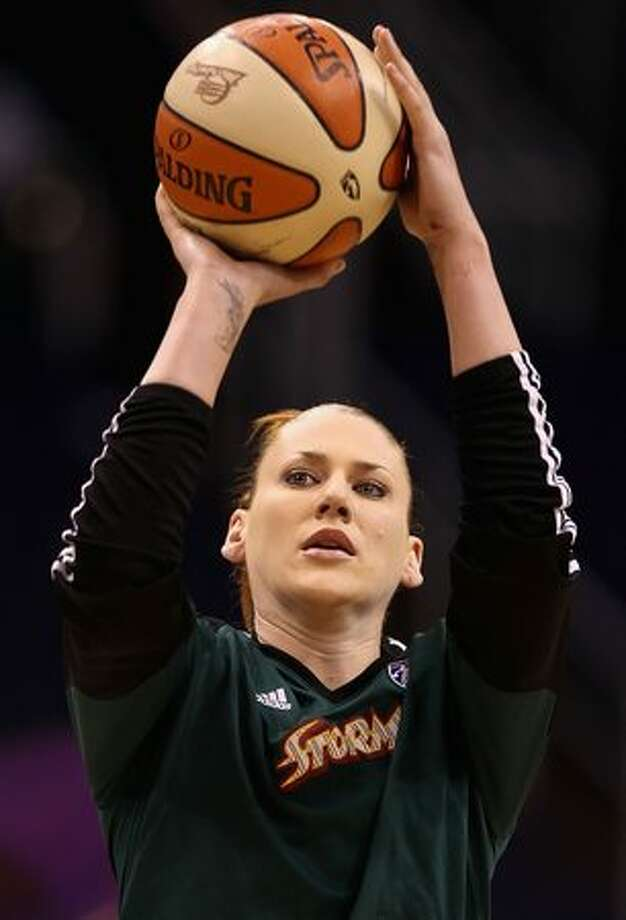 Lauren Jackson #15 of the Seattle Storm warms up prior to Game 2 of the Western Conference Finals against the Phoenix Mercury during the 2010 WNBA Playoffs at US Airways Center in Phoenix on Sunday, Sept. 5, 2010. Photo: Getty Images