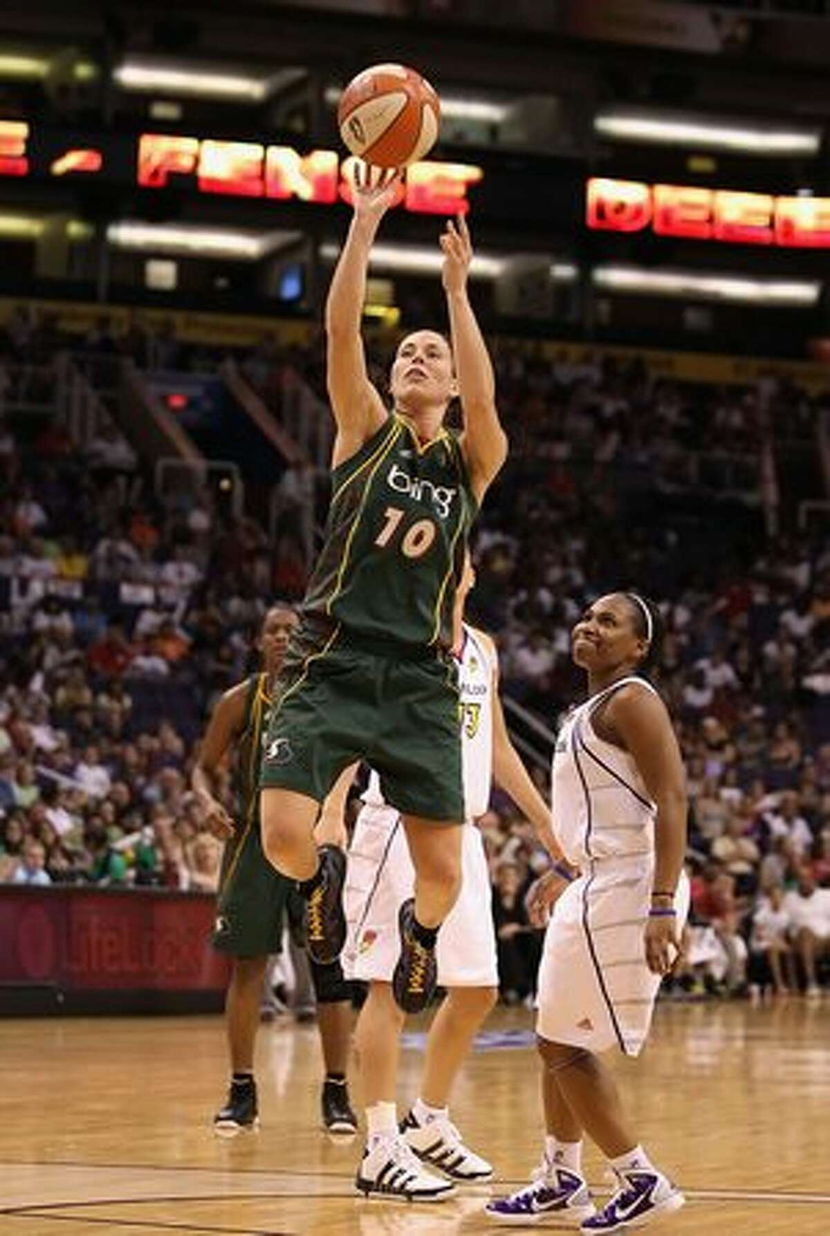Sue Bird #10 of the Seattle Storm puts up a shot against the Phoenix Mercury.