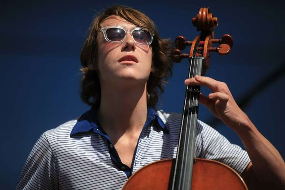 Samuel Anderson plays the cello with local pop band Hey Marseilles on the Broad Street Stage. Photo: Joshua Trujillo, Seattlepi.com