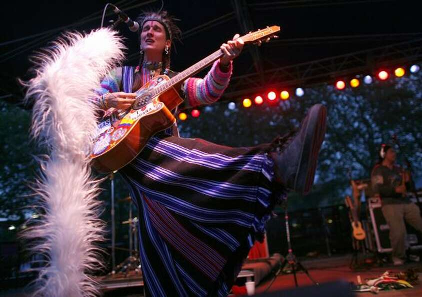 Andrea Echeverri of Colombian band Aterciopelados performs her unique style.