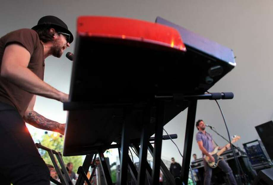 Keyboardist Tony Beliveau performs with the Crash Kings at the Center Square Stage. Photo: Joshua Trujillo, Seattlepi.com