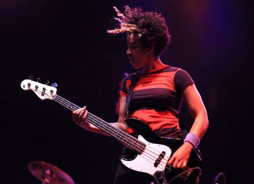Bassist Kathy Foster of The Thermals performs on the Broad Street Stage during day three of Bumbersh