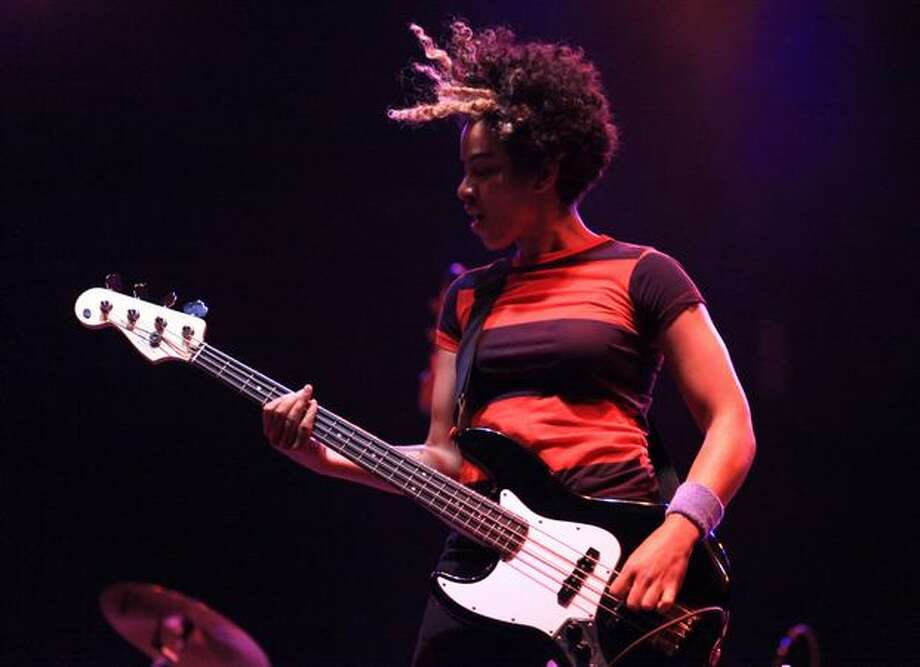 Bassist Kathy Foster of The Thermals performs on the Broad Street Stage during day three of Bumbershoot, Seattle's annual music festival, on Monday, September 6, 2010 at Seattle Center. Photo: Joshua Trujillo, Seattlepi.com