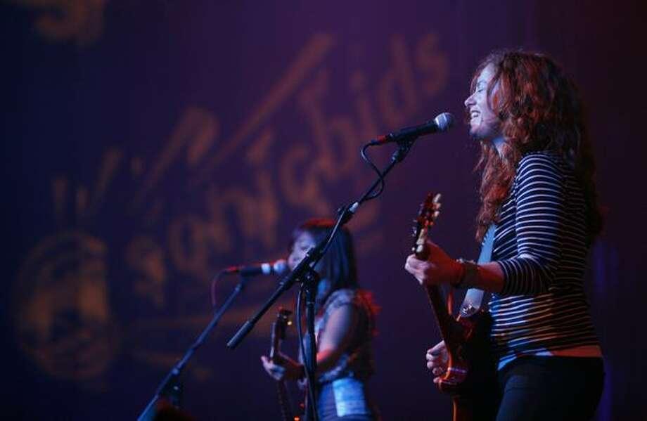 Rachel Flotard of the band Visqueen performs in the EMP Sky Church. Photo: Joshua Trujillo, Seattlepi.com