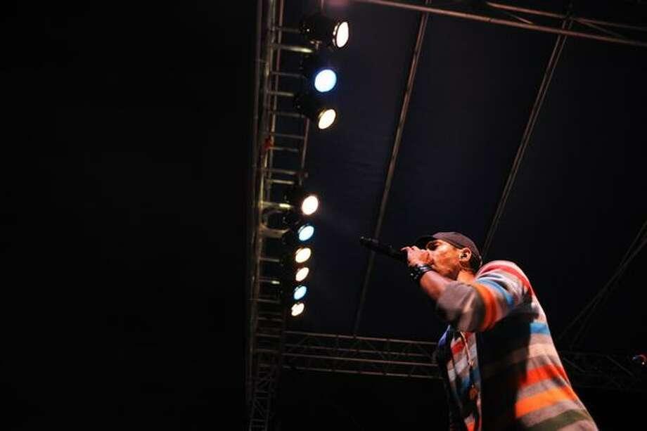 An Ozomatli member raps a chorus. Photo: Elliot Suhr, Seattlepi.com
