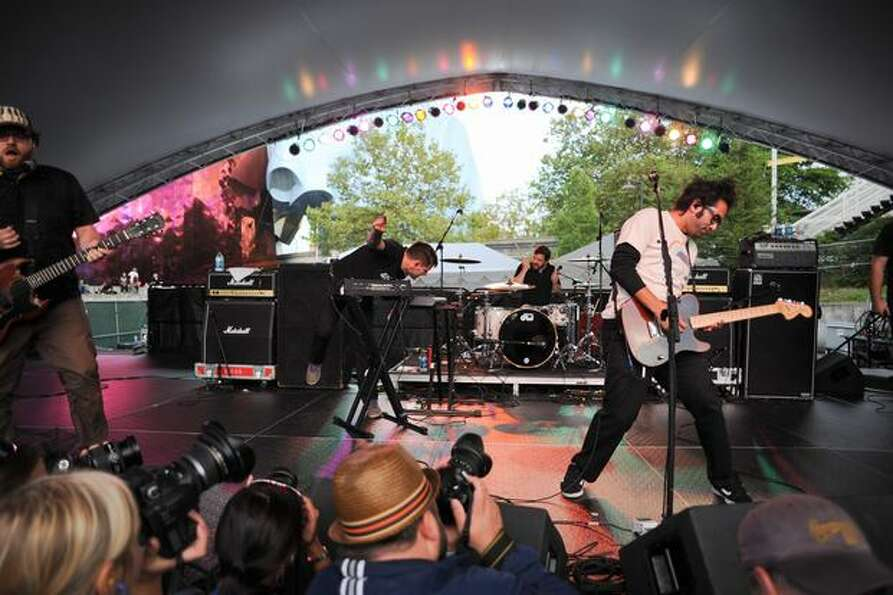 Motion City Soundtrack gives an energetic performance on the Center Square Stage.