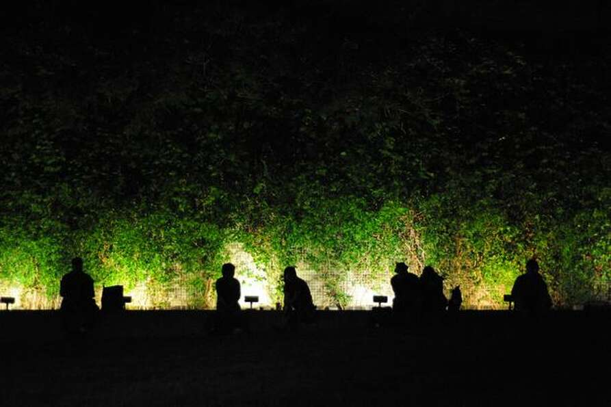 Bumbershoot attendees sit in front of an ivy-covered wall in between shows.