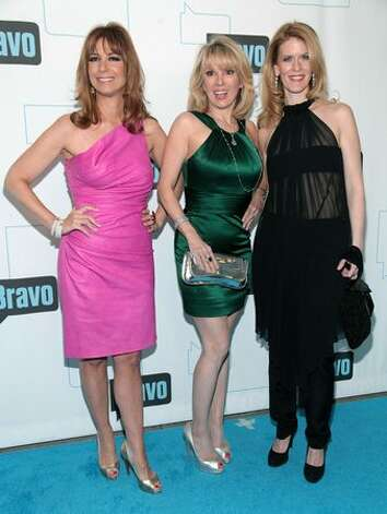 (L-R) TV personality Jill Zarin, Ramona Singer and Alex McCord attend Bravo's 2010 Upfront Party at Skylight Studio in New York City. Photo: Getty Images