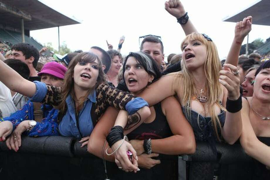 Fans get riled up as Rise Against performs at Bumbershoot. Photo: Cliff DesPeaux, Special To Seattlepi.com