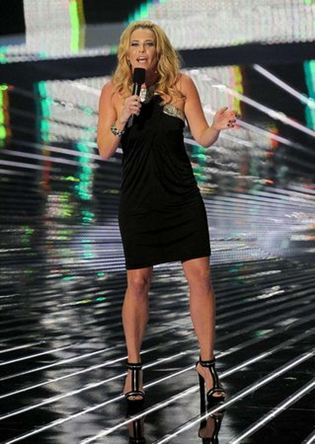 Host Chelsea Handler performs onstage.