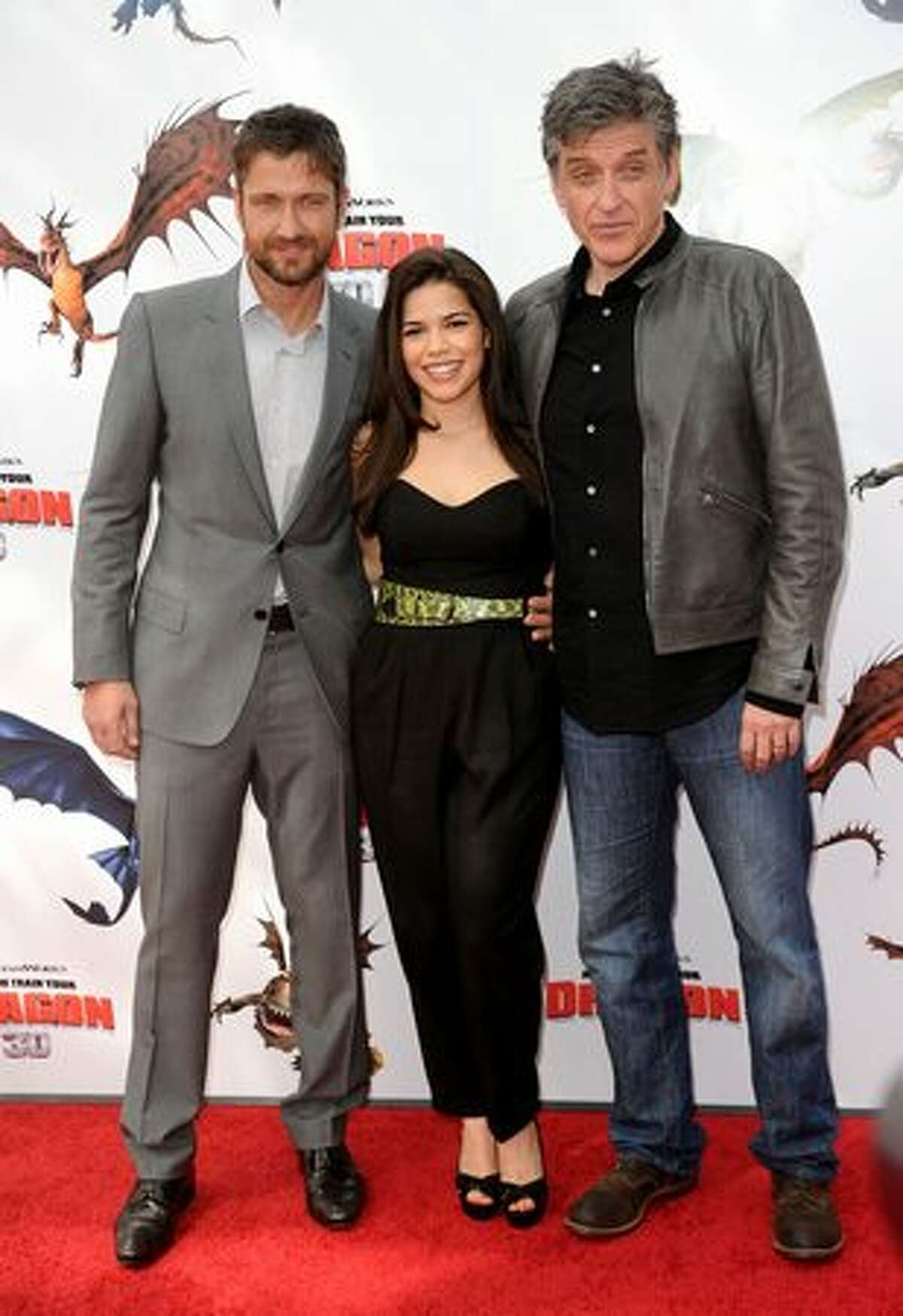 (L-R) Actors Gerard Butler, America Ferrera and Craig Ferguson arrive at the premiere of Dreamworks Animation's